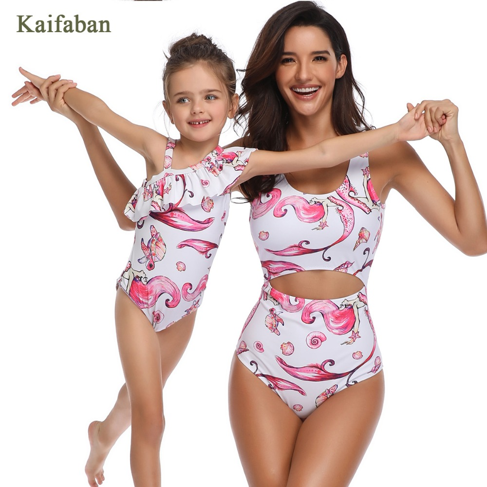 Women Girls Mermaid One Piece Bikini Monokini Beach Wear Mom Daughter Family Ruffle Flounces Swimsuit Swimwear