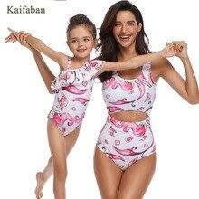 Для женщин обувь для девочек Русалка одна деталь бикини Монокини, пляжная одежда мама дочь семья рюшами воланами купальный костюм танкини Bathsuit