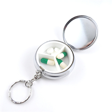 Pill Case Metal Round Stainless Steel Medicine Splitters Bottle Keychain Home Health Care Medicine Bottle Outdoor Survival Boxes medicine pot automatic separate electric medicine ceramic decoction health care electric kettles new goog
