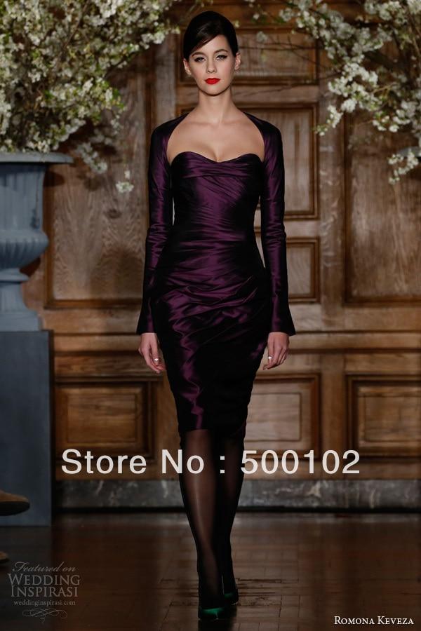 Vintage Purple Sweetheart Pleated Lady Evening Dresses with Long Sleeve Jacket