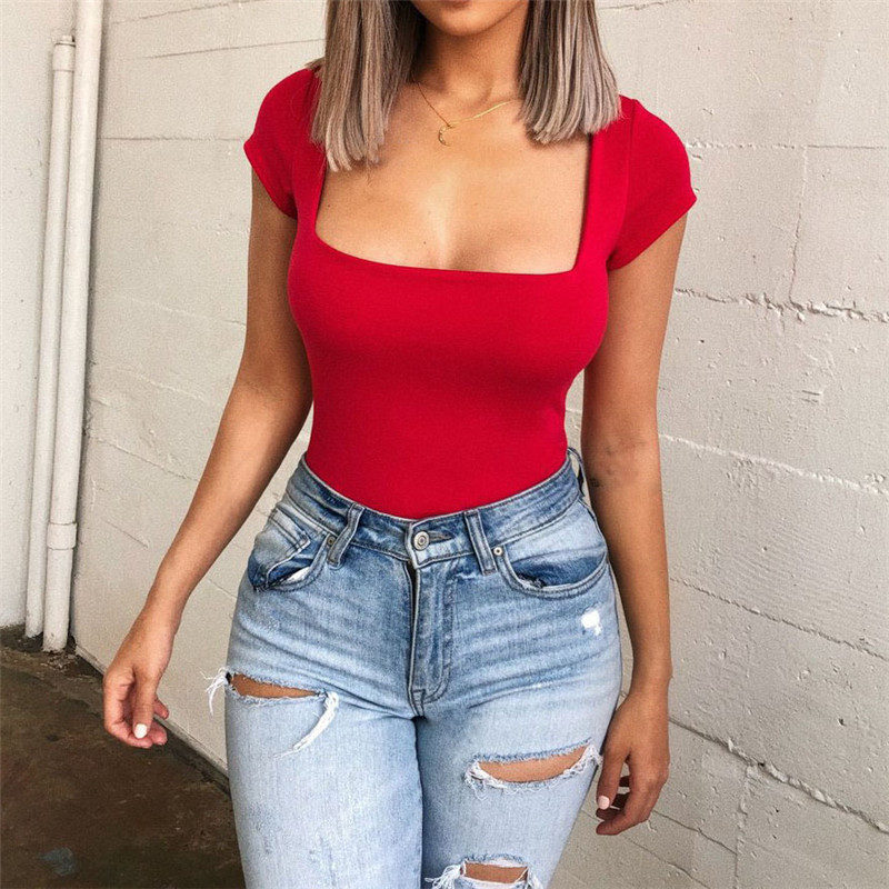 2019 Sexy Femme Bodyuit Summer Top Bodycon Bodysuit Feminino Mujer Skinny Solid Club Red Rompers For Women   Jumpsuit   Short Sleeve