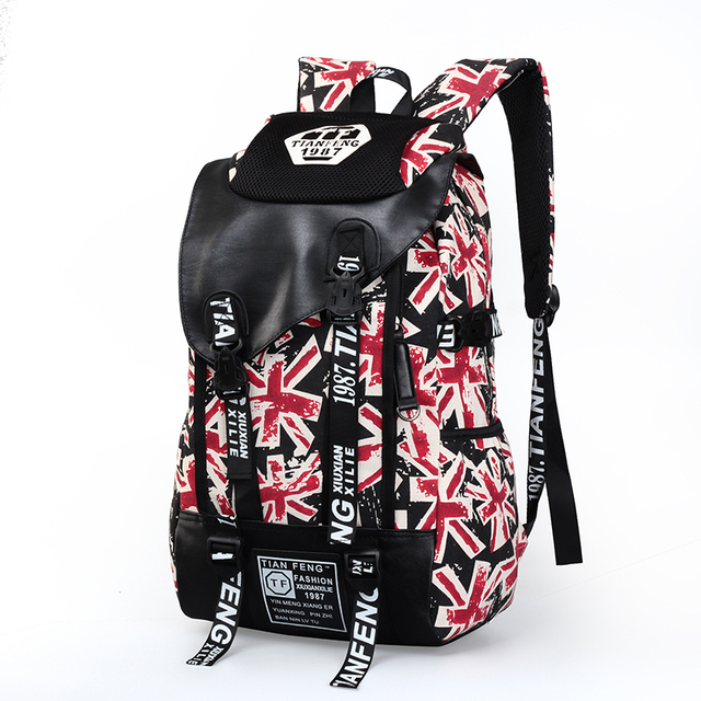 6189f6e6ca0 Trendy Outdoor Leisure Canvas School Backpack Youth Union Jack Sport Bag  Travel Bicycle Hiking Rucksack For Teen Kids Gym Bags