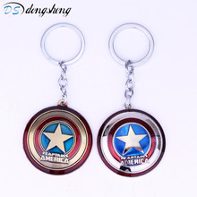 2017 Superheroes Captain America Shield Pendant Alloy Metal Charm Keychian Marvel DC Moive Jewelry Accessories Key Rings -50