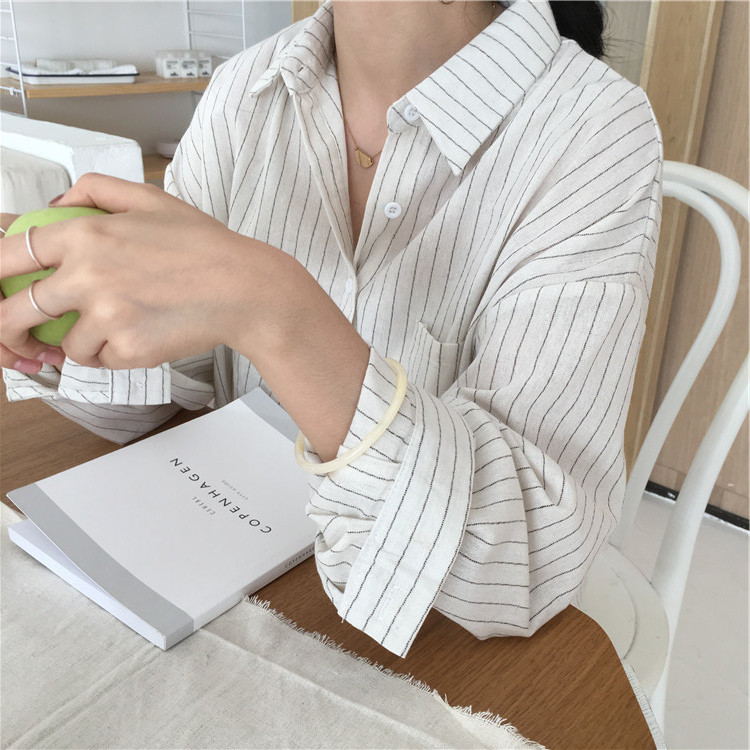 19 Mazefeng Spring Autumn Female Shirts Women Striped Shirts Office Lady Style Women Shirts Solid Fashion Long Sleeves 3