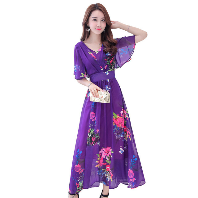 a725a2c2408 Women Bohemian Maxi Chiffon Dress Summer Ladies Elegant Floral Print Beach  Long Dresses Female Loose Dress Plus Size 4XL P200