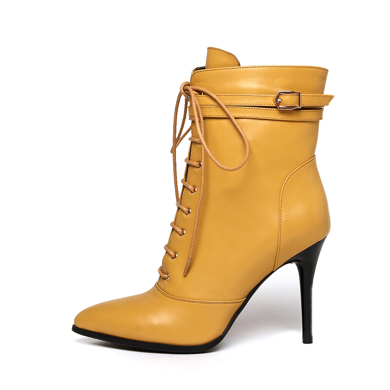KarinLuna 2017 Big Size 33-43 Full Grain Leather Pointed Toe Women Boots Sexy Zip Up Woman Shoes Thin High Heels Ankle Boots