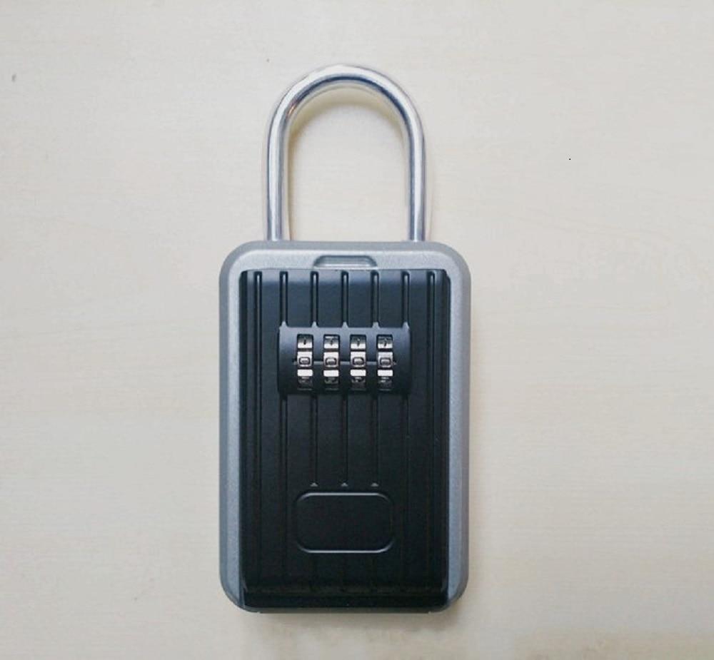 Outdoor Key Safe Box Keys Storage Box Padlock Use Four Password Lock Alloy Material Keys Hook Security  Boxes