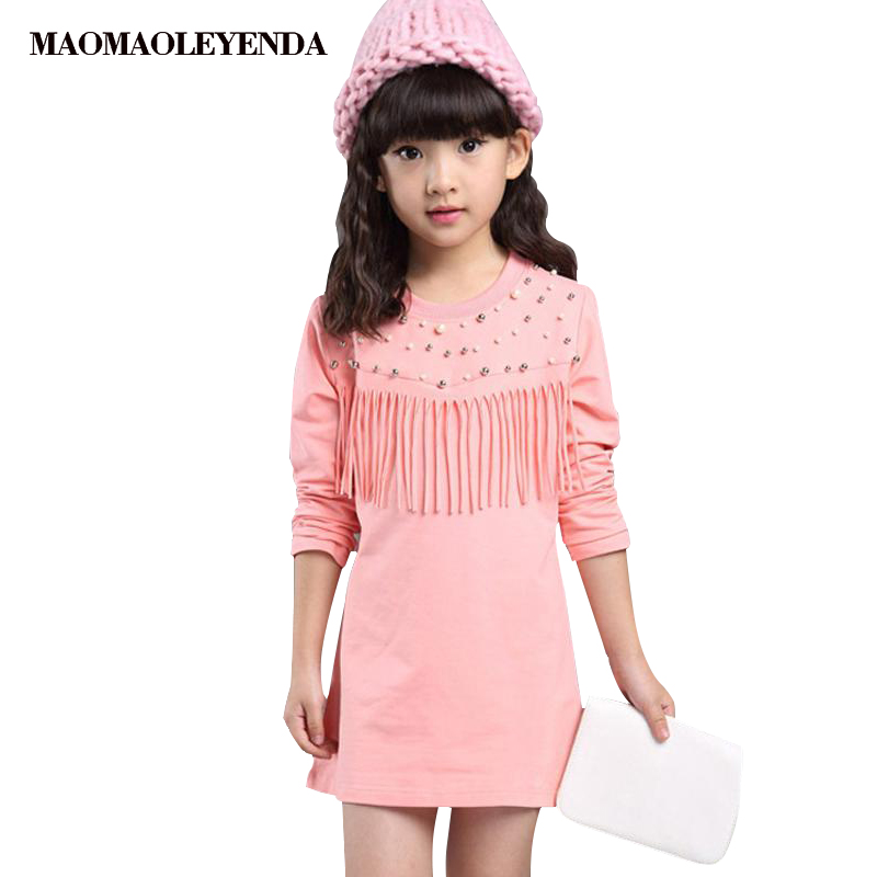 5d28328a9 Vestido de algodón para niñas Casual de manga larga con borlas para niños  vestidos para niñas 3 4 5 6 7 8 9 10 11 12 años ropa para niños