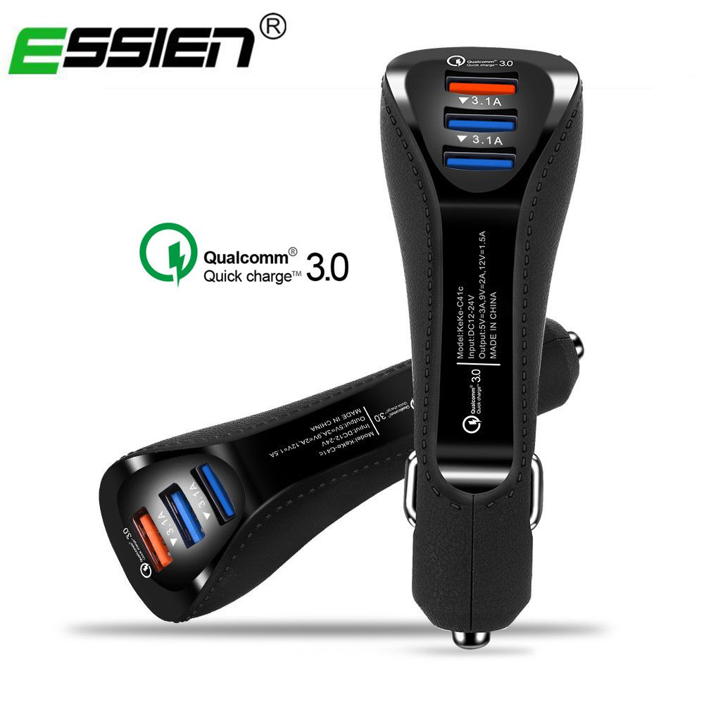 Essien 3 Ports USB Car Charger 3 1A Quick Charge 3 0 car styling USB Charger for iPhone Samsung Mobile Phone Tablets Car Charger in Car Chargers from Cellphones Telecommunications