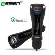 Essien 3 Ports USB Car Charger 3.1A Quick Charge 3.0 car-styling USB Charger for iPhone Samsung Mobile Phone Tablets Car-Charger