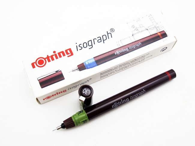 Freeshipping!!Rapidograph Rotring Isograph  Micron Pen With Removable Cartridge ,pigment Ink.