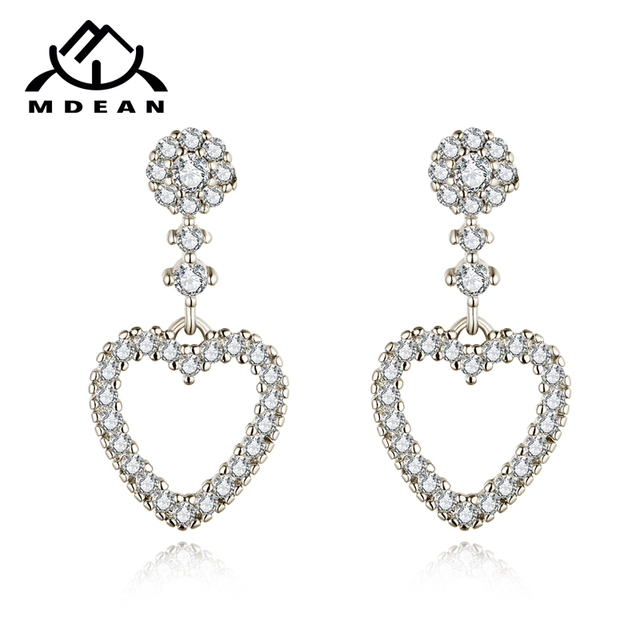 MDEAN White Gold Color Heart Earrings  AAA Clear Zircon Engagement Jewelry Earring for Women Top Quality A298