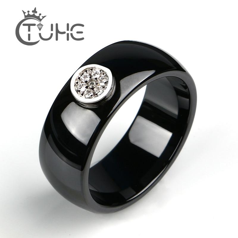 2019 Ring Ceramics 8mm Fashion Exquisite Rhinestone Ceramic Ring For Women Plus One Big Crystal Wedding Female Teen Ring Jewelry