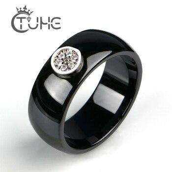 b0834fb8d873 2019 anillo de cerámica de 8mm de moda exquisita de diamantes de imitación  anillo de cerámica para las mujeres una gran boda de cristal Teen mujer  anillo ...