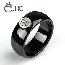 2019 anillo de cerámica de 8mm de moda exquisita de diamantes de imitación anillo de cerámica para las mujeres una gran boda de cristal Teen mujer anillo joyería