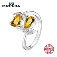 Mopera 925 Sterling Silver Ring 1 72ct Natural Citrine Amethyst Garnet Sapphire Engagement Wedding Rings For