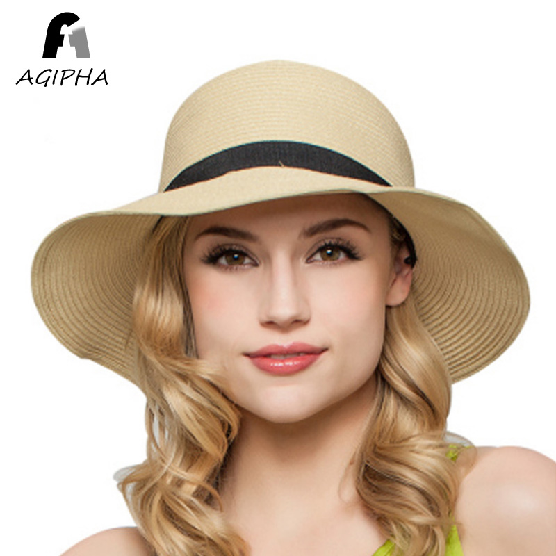 Straw Paper Summer Hats For Women Ladies Floppy Wide Brim Sun Hat Female  Fashion Bow Band Sunscreen Beach Caps Type AG35 2018-in Sun Hats from  Women s ... 4ae960ded9d4