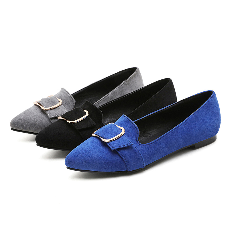 Plus Large Size Casual Office Faux Suede Low Block Heels Women Pumps Pointed Toe Buckle Dress Spring Autumn Flock Ladies Shoes new 2017 spring summer women shoes pointed toe high quality brand fashion womens flats ladies plus size 41 sweet flock t179
