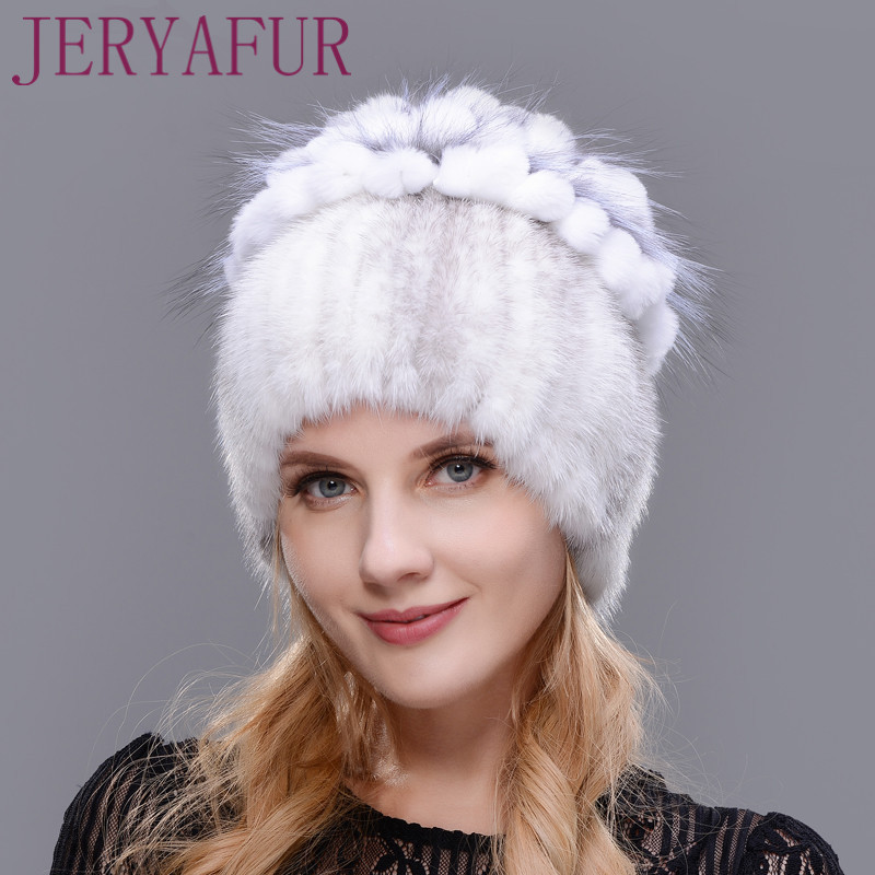 New Winter Natural Imported Mink Fur Hat For Women Rabbit Fur Petal On The Top Mix