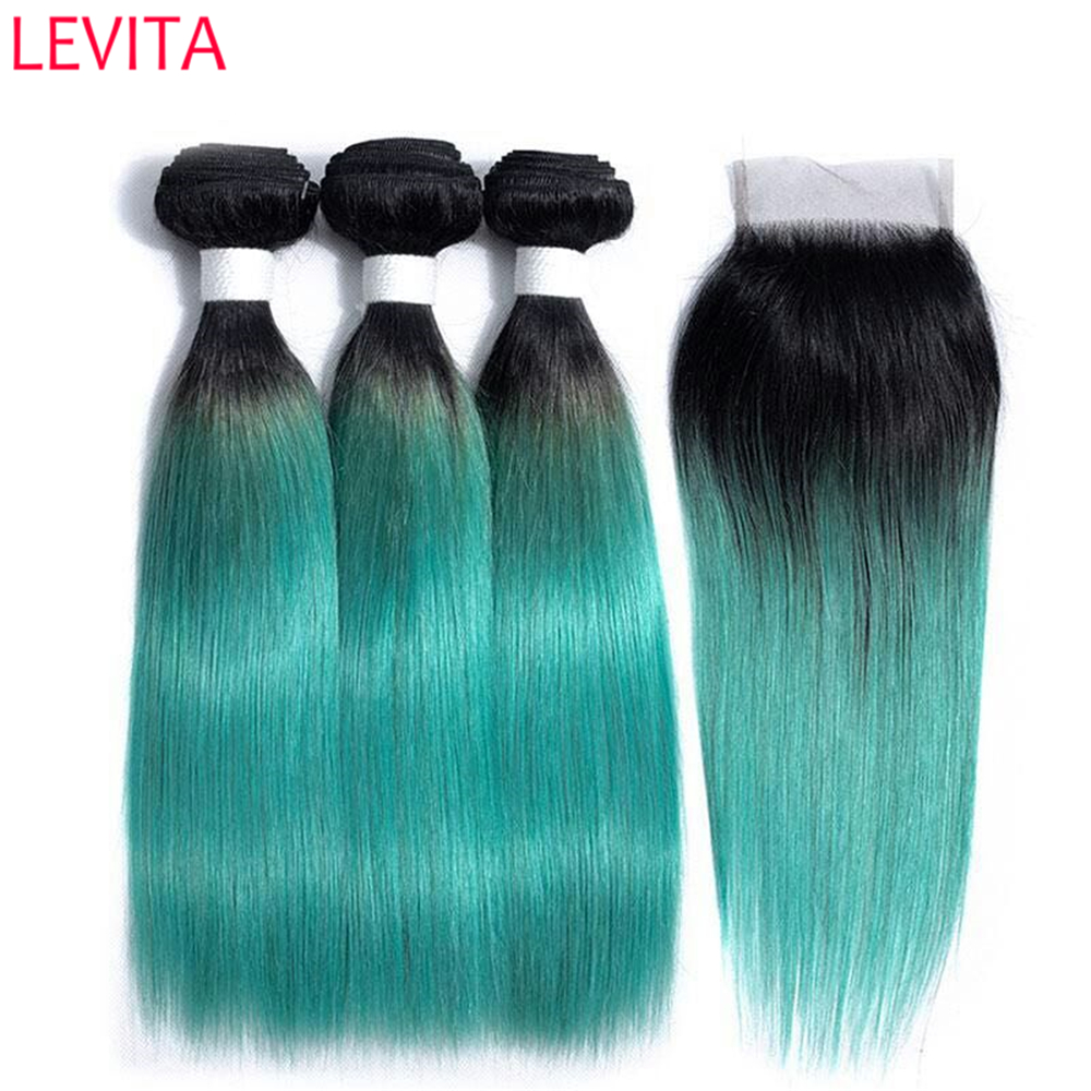 LEVITA T1B/Green 3 Bundles with Closure Free Part Brazilian Straight Human Hair Two Tone Pre Colored Green Hair with Dark Roots