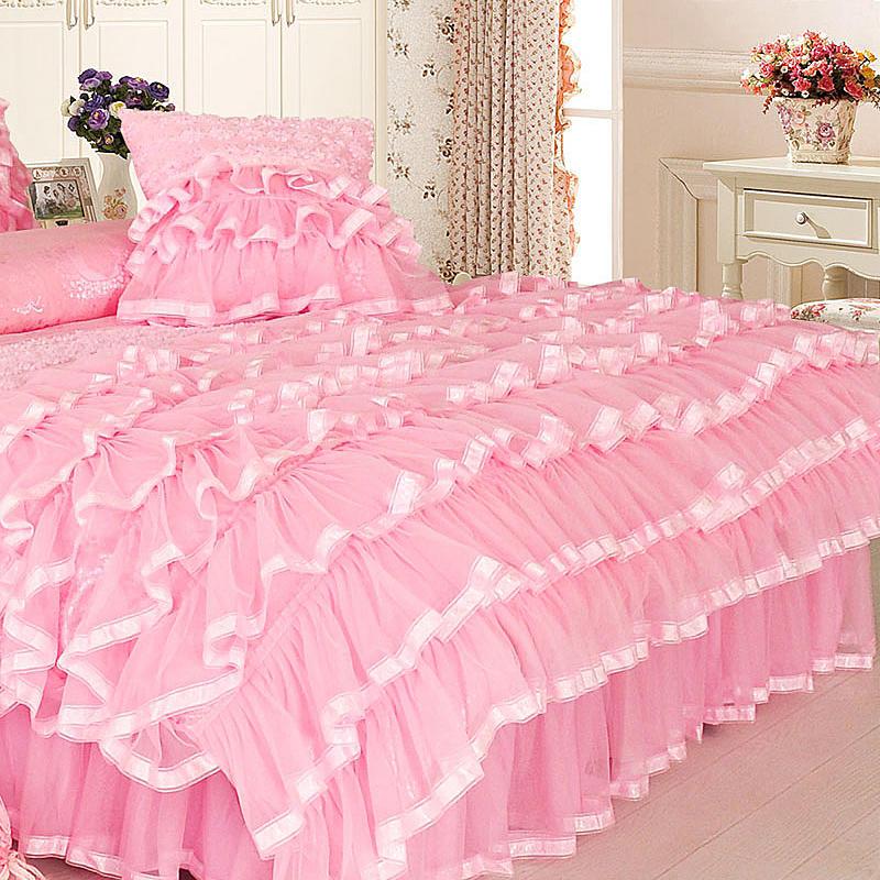 Księżniczka styl Twin królowej King size różowy krem do zestaw pościeli luksusowe łóżko okładka kołdra pokrywa falbanka na ramę łóżka zestaw prześcieradeł parure de lit w Zestawy pościeli od Dom i ogród na  Grupa 2