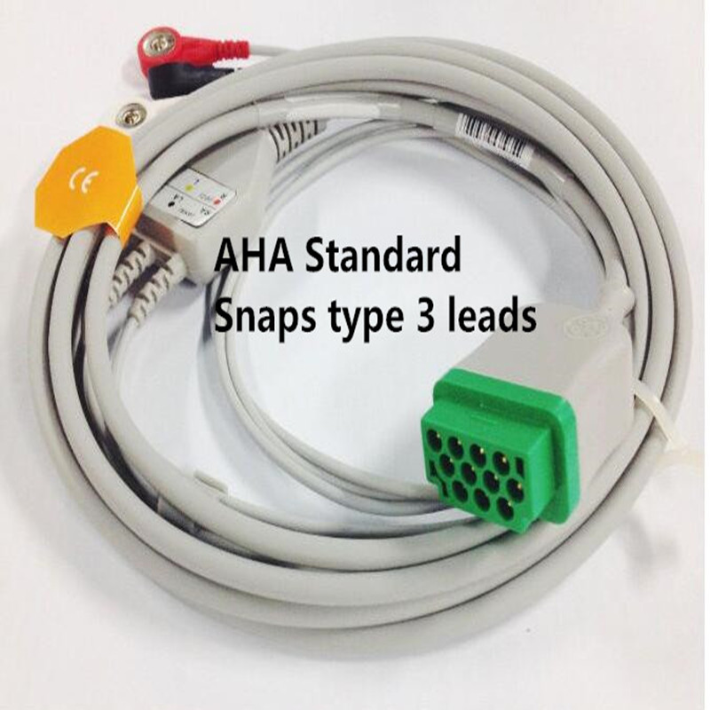 Free Shipping One Piece 3 Leads ECG/EKG Cable Snap Type For GE Marquette GE Dash Pro4000, DASH PRO 3000, Dash PRO 2000,AHA TPU