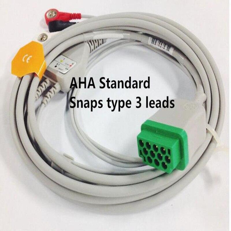 Gratis Verzending Een Stuk 3 Leads ECG/EKG Kabel Snap Type Voor GE Marquette GE Dash Pro4000, DASH PRO 3000, Dash PRO 2000, AHA TPU