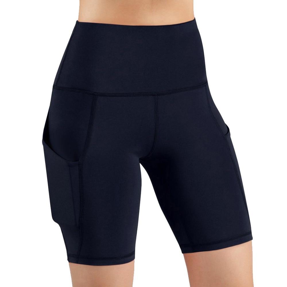 ✔  Повседневный сплошной цвет карманный Yoga Fitness Shorts Yoga женские спортивные леггинсы фитнес pan ★