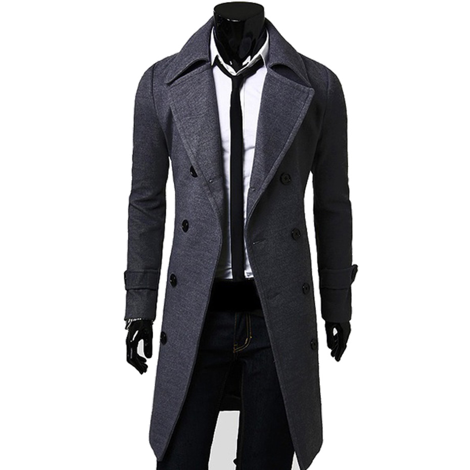 ZOGAA Spring Winter Wool Jacket Mens High-quality Coat Casual Slim Collar Long Cotton Trench