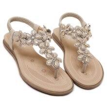 2018 Women Shoes summer Woman Sandals Rhinestones Gem Gladiator Flat Sandals  Crystal Chaussure Plus Size 42 07d4b15f6a13