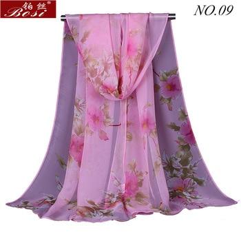 Silk scarf print shawls for women