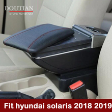 For Hyundai solaris 2 2018 2019 Armrest Box Central Store Content Box With Cup Holder Products Interior Car Accessories for hyundai solaris armrest box solaris 1 universal 2010 2016 car center console modification accessories double raised with usb