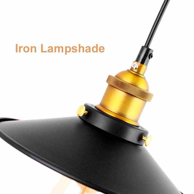 E27 светодиодная Подвесная лампа, промышленная лампа, винтажный свет 220 В, скандинавские черные винтажные подвесные светильники для кухонного бара, Подвесная лампа