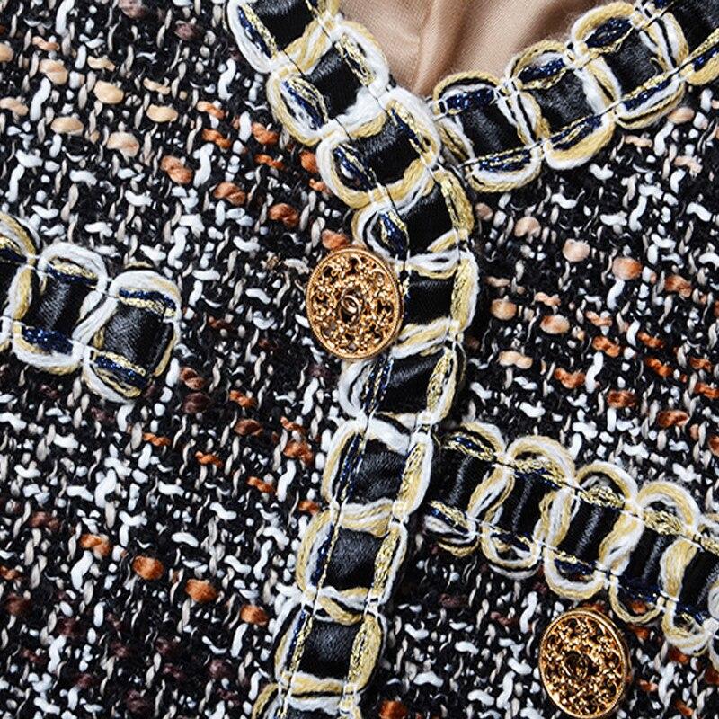 Femmes Mince Vêtements D'extérieur Tweed Blazer Nouveau Manteau Laine Manteaux Designer Automne Bureau Hiver 2019 Dames Luxe De Plaid vUZqaxPxw