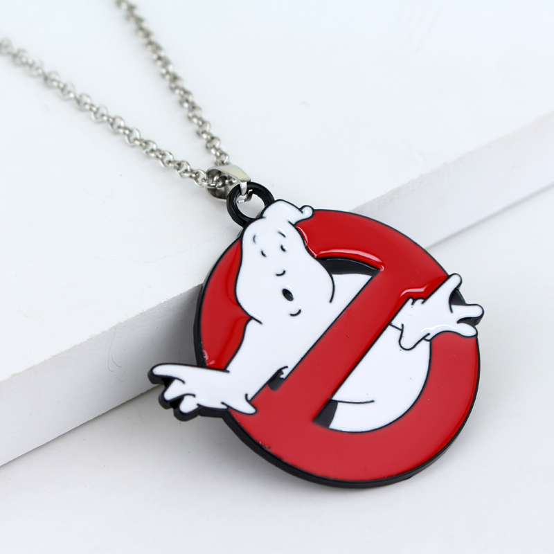 Ghostbusters Logo Necklaces Pendants Red White Enamel Ghost Kitsch Choker Necklace Women ...