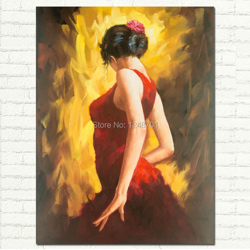 Figurative Art Oil Painting FLAMENCO DANCER In Red Dress Woman On Canvas Wall Art For Living Room Modern Home Decor Pictures