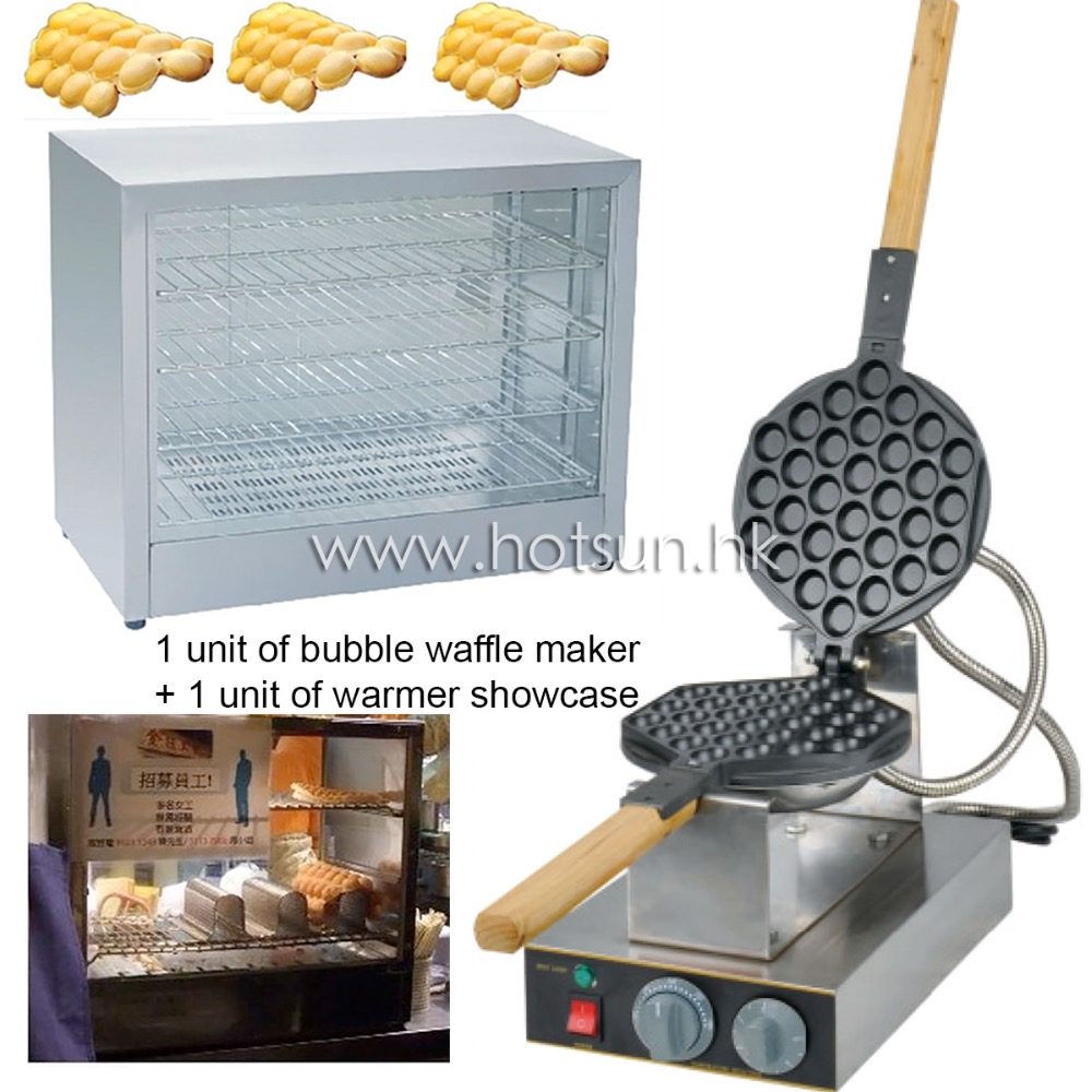 2 in 1 Commercial Use Non-stick 110v 220v Electric Eggettes Bubble Waffle Baker Maker Machine and Electric Warmer Showcase