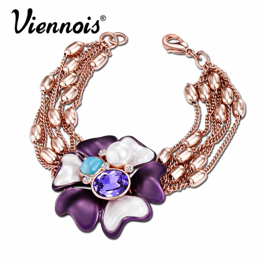 Viennois Rose Gold Color Flower Charm Bracelets & Bangles for Women Purple Crystal Bracelet Female Bloom Bracelets Jewelry 5 8mm strawberry quartz crystal bracelet rose wrap bracelets for women bracelets for girls birthday