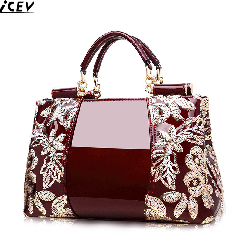 2018 new embroidery luxury handbag designer high quality patent leather ladies office bags handbags women famous brands