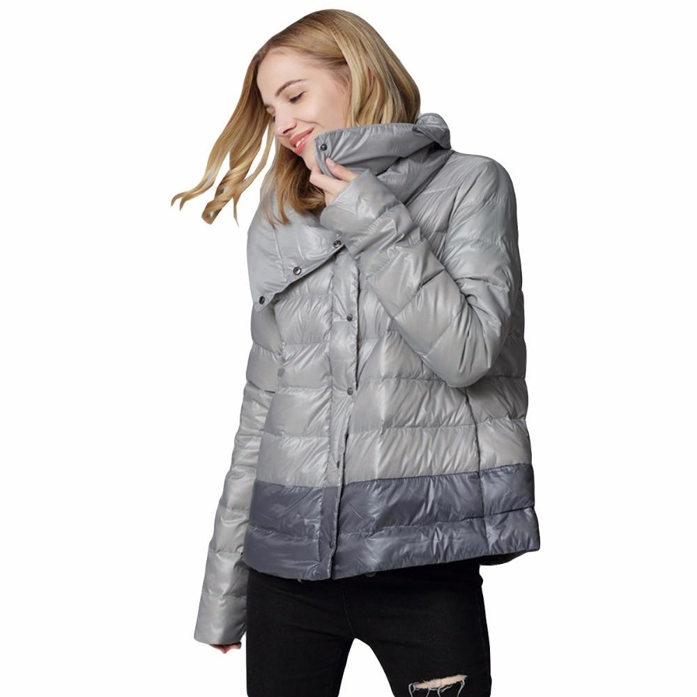 2018 plus size Autumn winter women 90% White duck down coat Women stand collar Thin light slim Casual loose down jacke RE0791 winter down top jacke