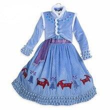 Вечерние платья Анны для девочек; костюмы Снежной Королевы для девочек на Хэллоуин; платье принцессы Анны; vestidos de fiesta infantil nina congelados