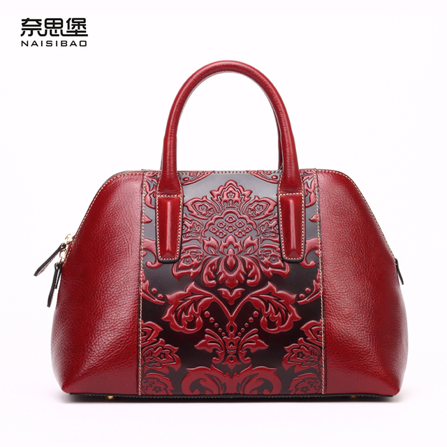 5c53e5a746 High quality Chinese style Genuine Leather Vintage flower pattern handbag  shell package fashion Shoulder Messenge women bags