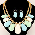 Candy Color Fashion Jewelry Sets Geometirc Necklaces & Pendats Multilayer Statement Necklace Drop Earrings Sets For Women