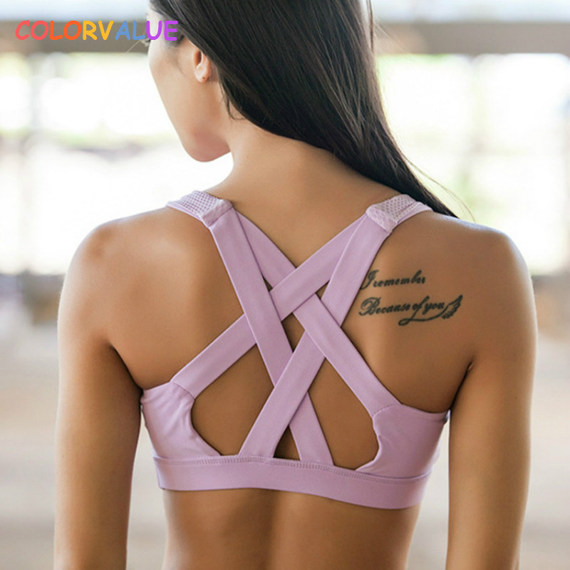купить Colorvalue High Support Sports Bra Women Quick Dry Running Gym Yoga Bra Breathable Padded Fitness Top Sexy Back Sports Bras Vest по цене 883.97 рублей
