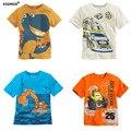 Новые мальчики футболки Детская Одежда мальчик Лето футболки Хлопок тис Мультфильм грузовик динозавра автомобили топы baby дети одежда мода