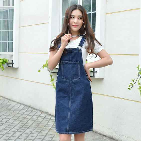 Летнее женское джинсовое платье, джинсовый сарафан для девочек, офисный комбинезон в стиле Лолиты, Женские однотонные джинсовые платья с регулируемыми лямками, WF29