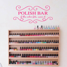 Fashion Nails Salon Girls Polish Bar Art Design Inteiror Modern Wall Sticker Beauty Salon Room Decoration Vinyl Art Design W319 salon design 05