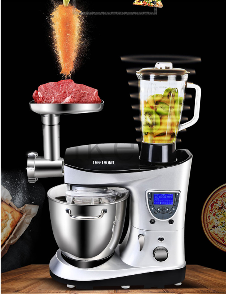 220V Multifunction LCD Professional Electric Dough/Milk/Cake Mixer 7L Milkshake Beater Eggs Food Blender Auto Heating With Timer