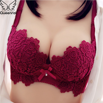 Queenral Push Up Bra Set For Women Underwear Lace