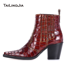 купить Brown Crocodile Print Cowboy Booties Red Patent Square Toe Texas Ankle Boots With Block Heel White Slip on Mid Heel Short Boots дешево